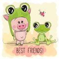 Cartoon Piggy in a froggy hat and frog Royalty Free Stock Photo