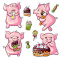 Cartoon pigs vector set and sweets Stock Photography