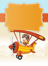 Cartoon pilot boy on a airplane flying Royalty Free Stock Photo