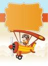 Cartoon pilot boy on a airplane flying Royalty Free Stock Photo