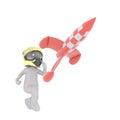 Cartoon Pilot in Helmet Chasing Flying Rocket Royalty Free Stock Photo