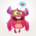 Cartoon pink cool monster in love. St Valentines vector illustration of loving monster.