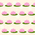 Cartoon pink lotus on soft colored cover seamless pattern background