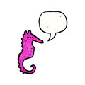 Cartoon pink sea horse Royalty Free Stock Images