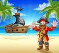 Cartoon Pirate on Beach Royalty Free Stock Photo