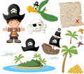 Cartoon pirate boy with icon set Royalty Free Stock Photography