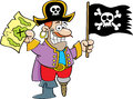 Cartoon pirate holding a flag and map. Stock Image