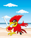 Cartoon pirate parrot on the beach Stock Photos