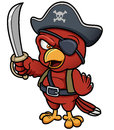 Cartoon pirate parrot vector illustration of Stock Photography