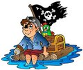 Cartoon pirate sailing on raft Royalty Free Stock Image