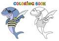 Cartoon pirate shark Royalty Free Stock Photo