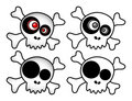 Cartoon pirate skull vector Royalty Free Stock Photo