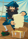 Cartoon pirate with treasure chest Stock Photos