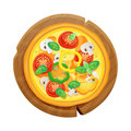 Cartoon pizza illustration on round wooden plate. Vegetarian pizza with cheese, tomatoes, peppers and mushrooms
