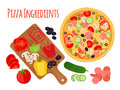 Cartoon pizza ingredients, cutting board and vegetables. Cartoon