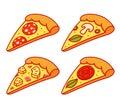 Cartoon pizza slice set Royalty Free Stock Photo