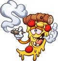 Cartoon pizza smoking a marijuana joint Royalty Free Stock Photo