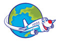 Cartoon plane flying around the globe vector of can be use as traveling theme Stock Photo