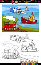 Cartoon plane train ship coloring page book or illustration of cute and and transport comic characters for children Royalty Free Stock Image