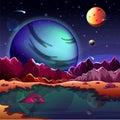 Cartoon planet landscape or scenery terrain