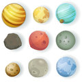 Cartoon planets set illustration of a of various moons asteroid and earth globes isolated on white for scifi backgrounds Stock Photo