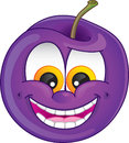 Cartoon plum cute fruit character with wide smile and teeth exposed for flavored fruit candy or drink Stock Images