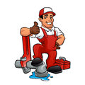 Cartoon plumber holding a big wrench.