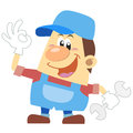 Cartoon plumber with white background Stock Image