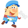 Cartoon plumber with white background Royalty Free Stock Images