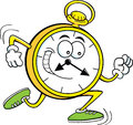 Cartoon pocket watch illustration of a running Royalty Free Stock Photography