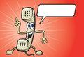 Cartoon pointing phone receiver character