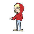 Cartoon pointing teenager Royalty Free Stock Image