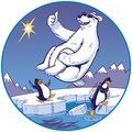 Cartoon Polar Bear Doing Cannonball Plunge While Penguins Watch Royalty Free Stock Photo