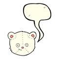 cartoon polar bear head with speech bubble Royalty Free Stock Photo