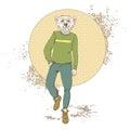 Cartoon Polar Bear Hipster Wear Fashion Clothes Retro Abstract Background