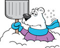 Cartoon polar bear holding a snow shovel.