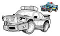 Cartoon police car caricature coloring page happy and colorful illustration for the children Royalty Free Stock Images