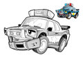 Cartoon police car caricature coloring page happy and colorful illustration for the children Stock Photo
