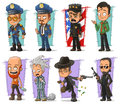 Cartoon policeman in uniform and gangsters character vector set