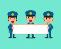 Cartoon policemen holding board for presentation Royalty Free Stock Photo