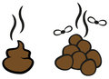 Cartoon poop with flies vector illustration of smelly Stock Image