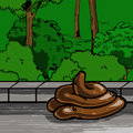 Cartoon poop pile in the park a vector illustrated Stock Photos