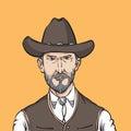 Cartoon portrait of wild west rough man