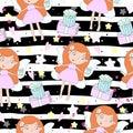 Cartoon positive seamless pattern with cute girls