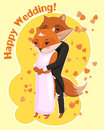 Cartoon postcard for wedding with cute foxes drawn two hugging Royalty Free Stock Image
