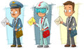 Cartoon postman with letter and bag character vector set