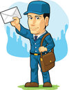 Cartoon of postman or mailman a vector image a standing confidently in blue uniform while holding a letter drawn in style this Royalty Free Stock Photos
