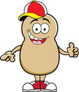 Cartoon potato wearing a baseball cap illustration of Royalty Free Stock Image