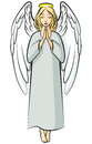 Cartoon praying angel vector illustrations of color Royalty Free Stock Images