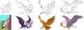 Cartoon predator birds set
